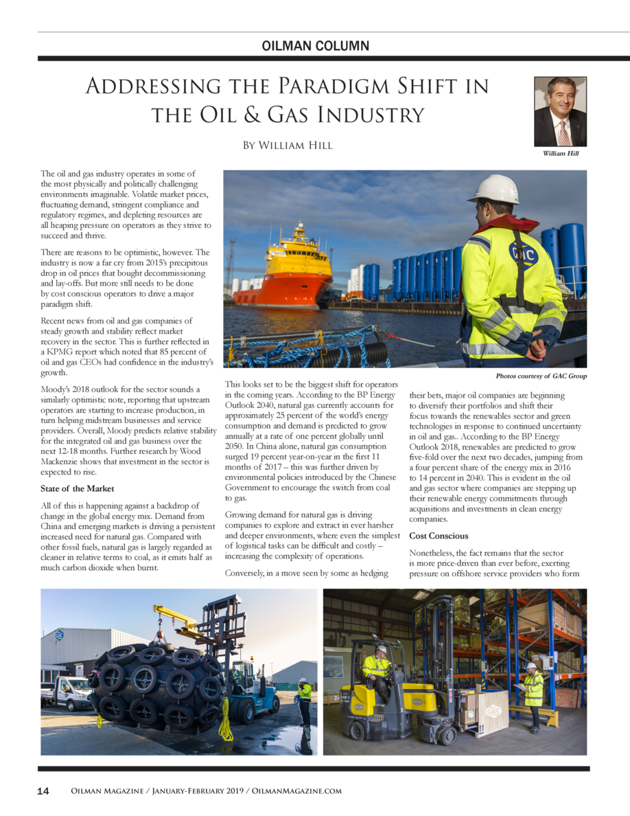 OILMAN COLUMN  Addressing the Paradigm Shift in the Oil   Gas Industry By William Hill  William Hill  The oil and gas indu...