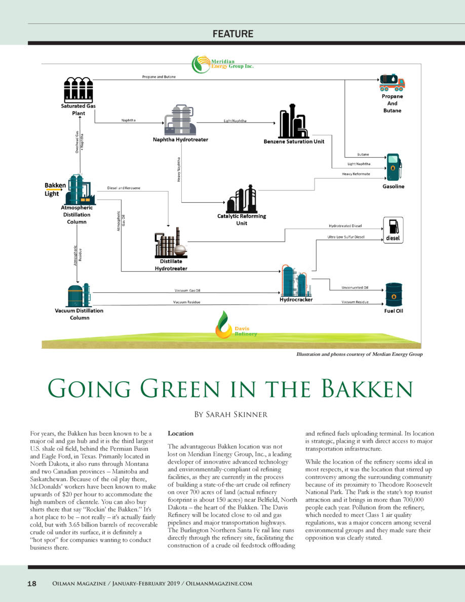 FEATURE  Illustration and photos courtesy of Merdian Energy Group  Going Green in the Bakken By Sarah Skinner For years, t...