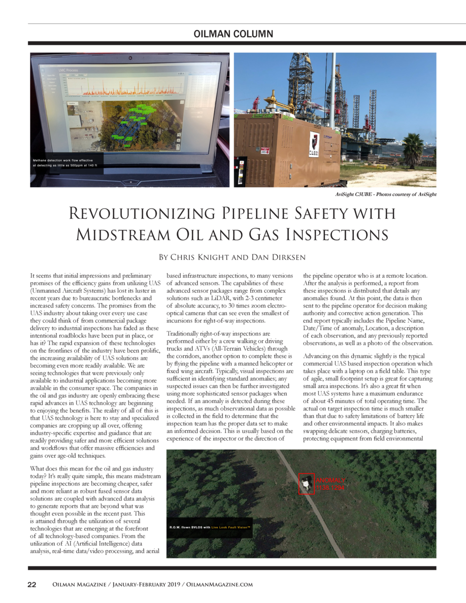 OILMAN COLUMN  AviSight C3UBE - Photos courtesy of AviSight  Revolutionizing Pipeline Safety with Midstream Oil and Gas In...