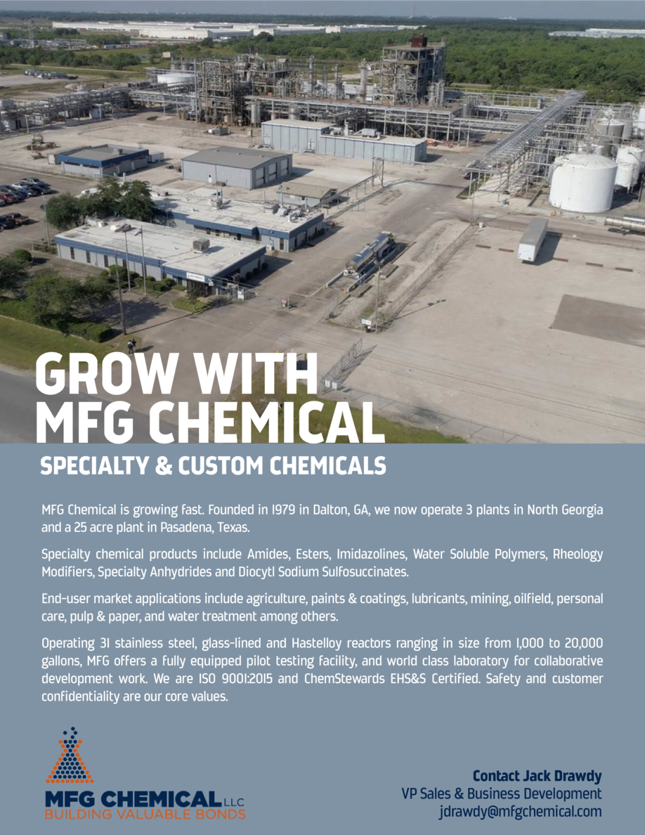 GROW WITH MFG CHEMICAL  SPECIALTY   CUSTOM CHEMICALS MFG Chemical is growing fast. Founded in 1979 in Dalton, GA, we now o...