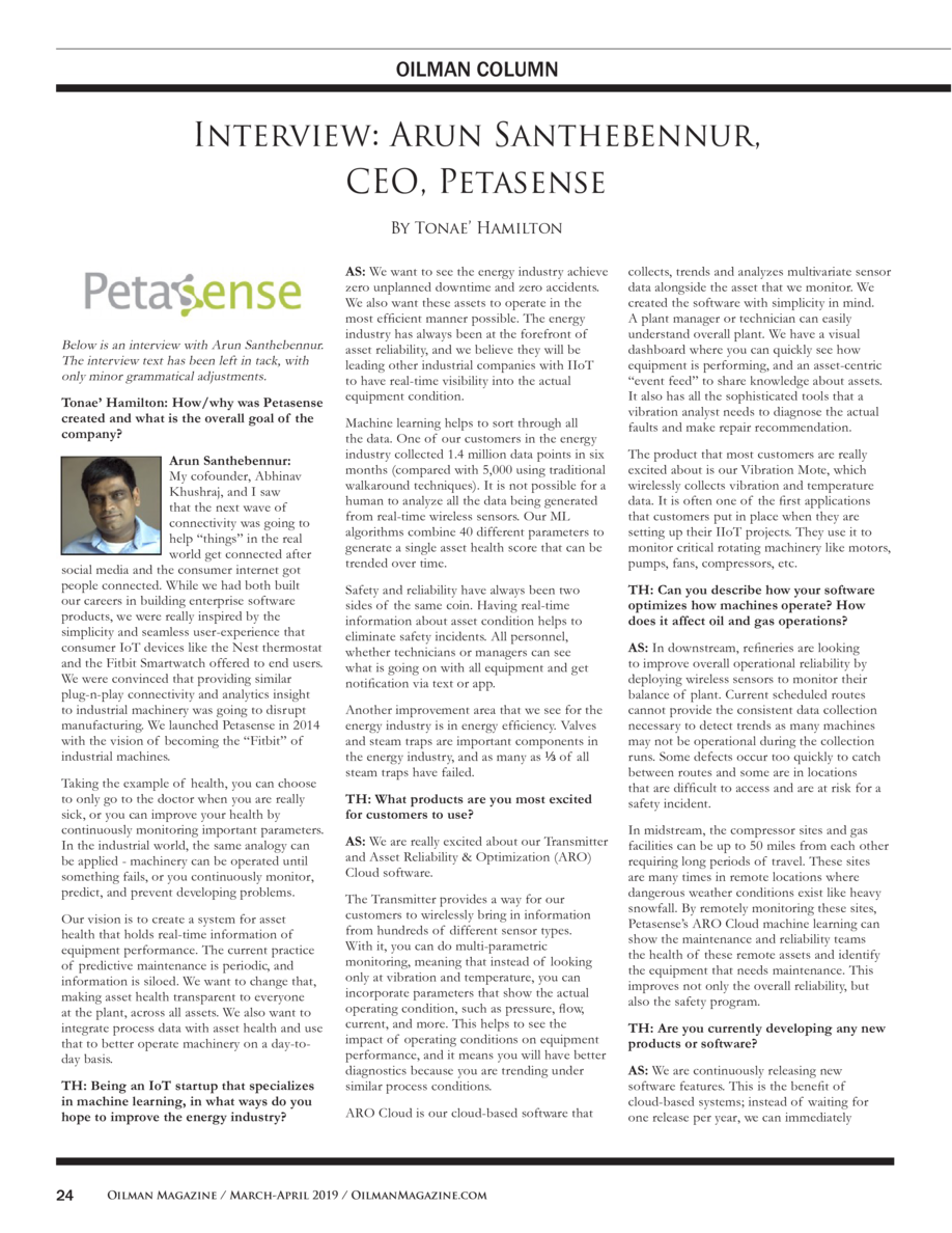 OILMAN COLUMN  Interview  Arun Santhebennur, CEO, Petasense By Tonae    Hamilton  Below is an interview with Arun Santhebe...