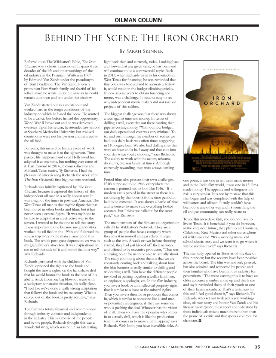 OILMAN COLUMN  Behind The Scene  The Iron Orchard By Sarah Skinner Referred to as The Wildcatter   s Bible, The Iron Orcha...