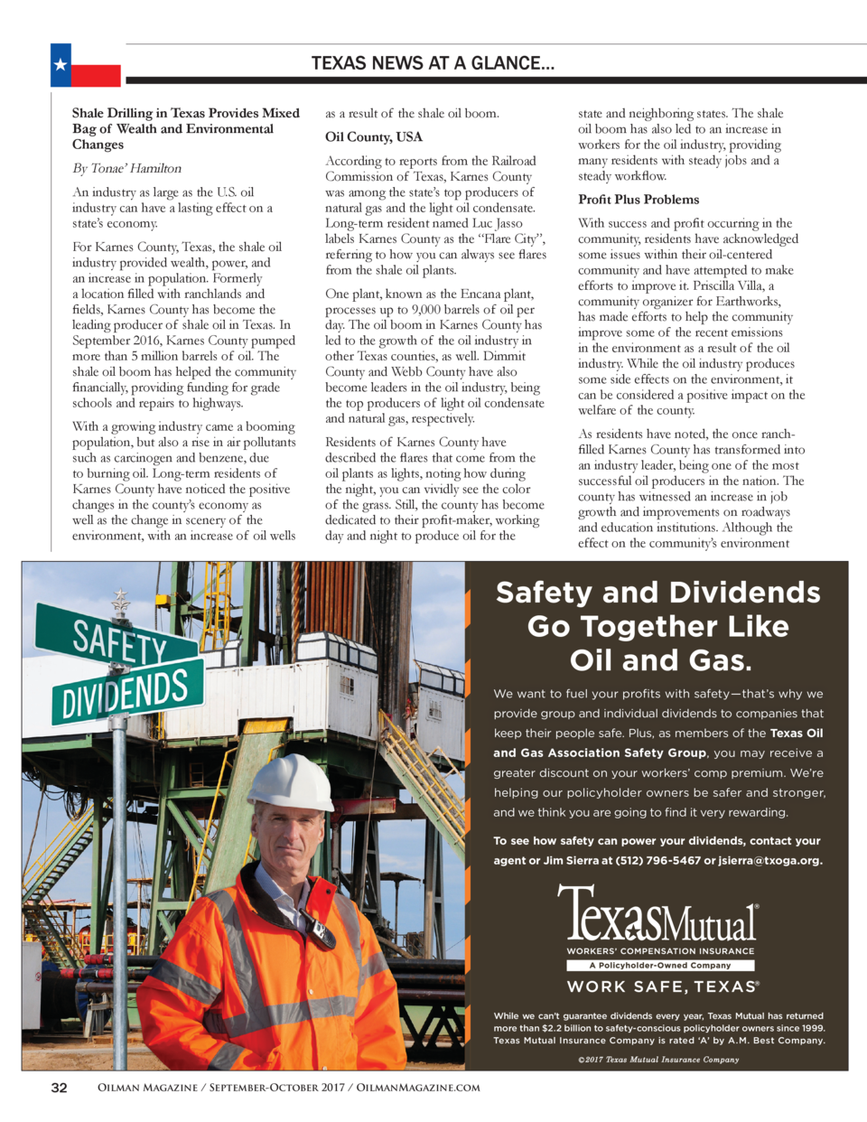 TEXAS NEWS AT A GLANCE... Shale Drilling in Texas Provides Mixed Bag of Wealth and Environmental Changes  By Tonae    Hami...